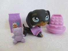 Littlest Pet Shop~ #325 DACHSHUND Weiner Dog~ Black & Tan #Hasbro