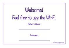 Horizontal 5 x 7 Wi-Fi Information Print {Free Printable}