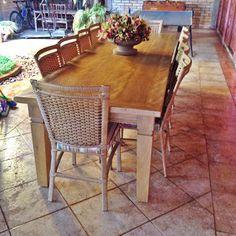 Stof Lar Decorações - Móveis em Madeira de Demolição : Mesa Retangular, com 10 Cadeiras Modelo Eduarda In...