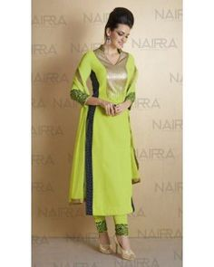 Pista Green with Navy Blue Printed Side Slits Embroiderd Salwar Suit