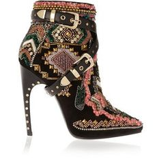 Emilio Pucci Embellished suede ankle boots