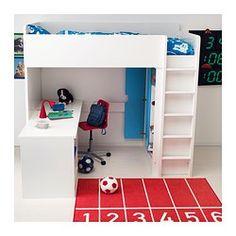 IKEA - STUVA, Loftsseng 2 hyller/3 hyller, , Du kan montere skrivebordet parallelt med eller i rett vinkel ut fra senga, eller supplere med 2 ADILS ben for et frittstående skrivebord.Hvis du velger å montere skrivebordet i vinkel, kan du nå garderoben fra begge sider.For å redusere faren for å gli har stigen sklisikre riller.Det er enkelt å holde kontakter og ledninger ute av syne men lett tilgjengelig med ledningsuttaket på baksiden.