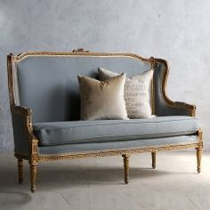 Eloquence One of a Kind Vintage Settee Louis XVI Red Gesso Nasafi Grayce French Furniture, Classic Furniture, New Furniture, Rustic Furniture, Vintage Furniture, Furniture Design, Furniture Online, Furniture Outlet, Vintage Settee