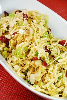 Checkout this fresh and easy Oriental Cabbage and Cranberry Salad Recipe at LaaLoosh.com. It's so crunchy and flavorful, and best of all, it's just 2 Points + per serving.