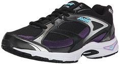 AVIA Womens Execute Running Shoe BlackMajestic PurpleWinter Blue 85 M US >>> Click image for more details.