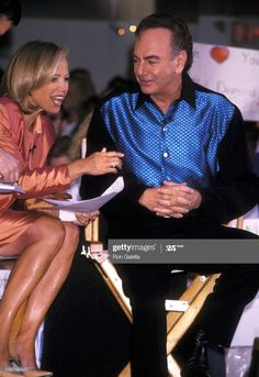 """Katie Couric and Neil Diamond during """"The Today Show"""" Summer Concert Series: Neil Diamond in Concert at Rockefeller Plaza in New York City, New York, United States. Get premium, high resolution news photos at Getty Images Neil Diamond Songs, Diamond Music, Diamond Jewelry, The Jazz Singer, Katie Couric, Diy Jewelry Necklace, Diamond Girl, Kelly Ripa, Stars Then And Now"""