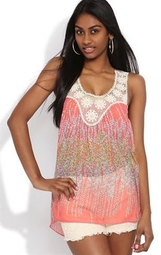 Deb Shops Chiffon Racerback Tank Top with Floral Print and Crochet Neckline $12.60