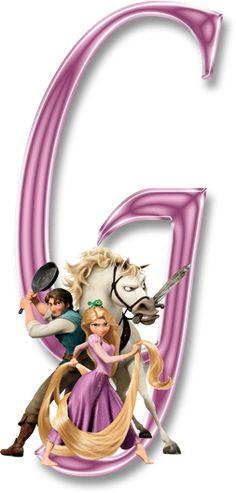 Alfabeto decorativo enrolados rapunzel em png - Alfabetos Lindos