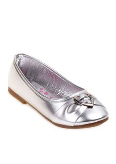 Rugged Bear Silver Charm Ballerina Flat-Youth Sizes