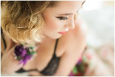 real floral lingerie, purple flowers, bridal boudoir, Misty Saves the Day, Yours Truly Portraiture