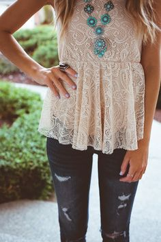 Lace top + denim + turqoise amazing peplum combo for hiding belly and getting curves
