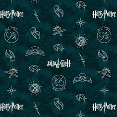 Harry Potter Wizarding World Fabric / HP Camelot Dark Teal Symbols Harry Potter Fabric By The Yard & Harry Potter Fat Quarters See Harry Potter Wizarding World Fantastic Beasts Fabrics Here: Harry Potter Fabric, Theme Harry Potter, Dark Teal, Fabric Panels, Symbols, Quilts, Cotton, Etsy, Inspire Quotes