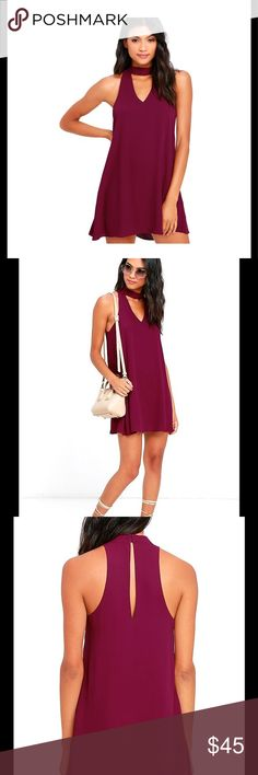 LULUS GROOVE THING MAGENTA SWING DRESS : XS Show 'em how to shake it in the Groove Thing Magenta Swing Dress! A mock neck and front cutout top this flirty swing dress composed of lightweight woven poly. Back keyhole with two top clasp closures. Fully lined. Lulus Dresses