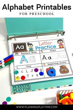 Enjoy!! A Fun Preschool Binder with Math and Alphabet learning Activities. Alphabet Worksheets, Preschool Worksheets, Preschool Activities, Preschool Binder, Preschool Letters, Learning Through Play, Kids Learning, Summer Worksheets, Rainbow Writing