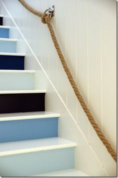 Trending Now: Painted Stairs I've always believed great design is all about the details. I like the painted stairs. but I LOVE the rope railing! Coastal Living, Coastal Decor, Coastal Style, Coastal Paint, Nautical Style, Nautical Colors, Coastal Bedrooms, Nautical Craft, Blue Bedrooms