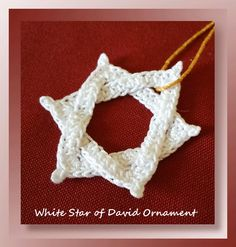 Star of David - thread ornament - free pattern Crochet Ornament Patterns, Crochet Ornaments, Christmas Crochet Patterns, Christmas Knitting, Crochet Christmas, Jewish Crafts, Crochet Bookmarks, Crochet Stars, Crochet Projects