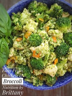 Easy Pesto, Chicken, Broccoli & Brown Rice makes for an easy weeknight dinner. This recipe is a healthy and flavorful dish full of veggies.
