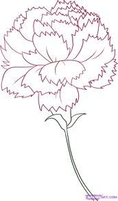 Tattoo: Outline side view purple carnation