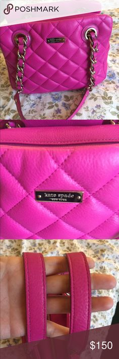 Kate Spade Gold Coast Elizabeth bag in fuschia Purse is used but in great condition still.  Quilted leather is very elegant.  I keep it stuffed so it has kept its shape.  Comes with original dust bag. This is hard for me to part with as it is my last Elizabeth.  I had it in black, hydrangea and platinum at one point and sold them all.  This is my last one.  Thanks for viewing my listing. kate spade Bags Shoulder Bags