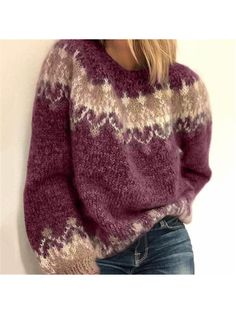 Damenmode Langarm Rundhals Lose Pullover – cicilady Source by martina_maerz sweater outfit Long Sweater Coat, Long Sleeve Sweater, Loose Sweater, Raglan Pullover, Pullover Sweaters, Knitting Sweaters, Sock Knitting, Free Knitting, Womens Knit Sweater