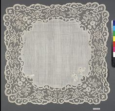 Possibly French  Irish Huguenot Lace  * Nutall  see below is a Huguenot name  ???: 19th century Culture: Irish Medium: Cutwork Dimensions: L. 17 1/2 x W. 17 1/2 inches 44.5 x 44.5 cm Classification: Textiles-Laces Credit Line: The Nuttall Collection, Gift of Mrs. Magdalena Nuttall, 1908