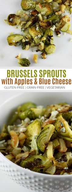 Brussels Sprouts with Apples and Blue Cheese | healthy Brussels sprouts recipes | how to cook Brussels sprouts | healthy side dish recipes | gluten free side dish recipes | vegetarian side dishes | grain free side dishes | easy vegetable recipes || The Real Food Dietitians