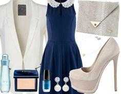 Abendoutfit mit Blazer ♥ Hier kaufen: http://www.stylefruits.de/abendoutfit-kettenreaktion/o2891761 #Abendoutfit #Blazer #Kleid