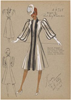Shaped swagger coat, slightly fitted. (Jan 16, 1939).  André Fashion Illustrations from NYPL's Picture Collection.