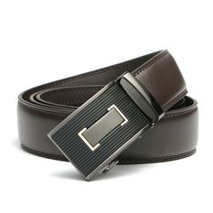 130cm Men's High-grade Business Casual Automatic Buckle Waistband Strap Genuine Leather Belt