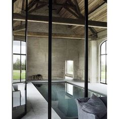 #mulpix Indoor pool inspiration.  #country  #design  #interiors  #style  #inspo  #architecture  #barn  #rustic  #interiordesign  #interiorstyle  #inspiration  #pool  #thelivingdetails  #elledecor