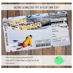 Printable Ticket for a Skiing Vacation Boarding Pass Paper & Party Supplies Boarding Pass Plane Ticket Printable Surprise Template Skiing Ticket to Ski Skiing Ticket Ski Ticket Vacation Ticket Skiing Boarding Pass Ski Vacation Skiing Vacation