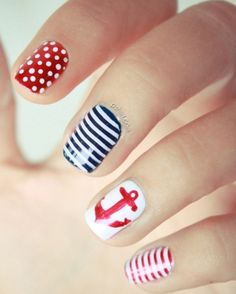 Summer is the best time to mess around with different nail designs. This one is a favorite for the 4th of July holiday! The stripes are the best part!