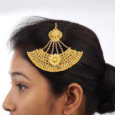 Gold Plated Floral Hair Jhumar Passa Bollywood Ethnic Jewelry Khopa Jhapta #DesaiJewellers #HairChain
