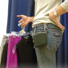 Brilliant idea--two hip clips with a zippered purse/pouch, like an upstyled fanny pack! $17.00 - diy inspiration