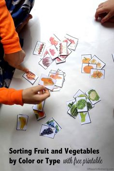 Preschool theme: Fruit and Vegetables! Sorting Fruit and Vegetables by Color or type. grab this free printable to use in your home with your toddler or preschooler! Preschool Food, Preschool Garden, Preschool Learning, Teaching, Preschool Kindergarten, Toddler Learning, Sorting Activities, Color Activities, Preschool Activities