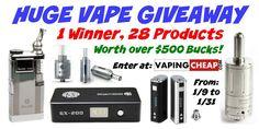 Huge 28 Prize Vape Giveaway! - http://vapingcheap.com/huge-28-prize-vape-giveaway/