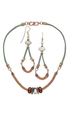 Single-Strand Necklace and Earring Set with Dione™ Large-Hole Beads, Viking Knit Wire and Faux Suede Lace Cord