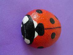 lady bug painted rock