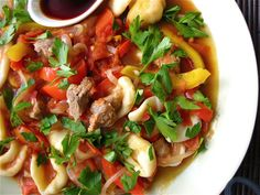Laghman (Handmade Noodles with Lamb and Tomatoes)