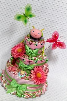 Pink Ladybug Baby Diaper Cake Shower Gift or Centerpiece