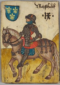 "9 (Marshal) of France, from The Courtly Household Cards, ca. 1450. The Metropolitan Museum of Art, New York. Kunsthistorisches Museum Wien, Kunstkammer (KK 5115) | This work is featured in the ""The World in Play: Luxury Cards, 1430-1540"" exhibition, on view at The Met Cloisters through April 17, 2016. #MetLuxuryCards"