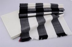 Sheer cashmere scarf in checkFringing at both ends [$56.00]