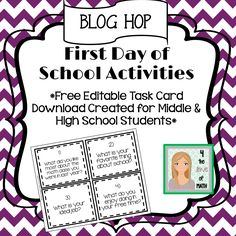 First Day of School Activities: Blog Hop! Check out this blog post for free editable task cards created to help secondary teachers get to know their students better!