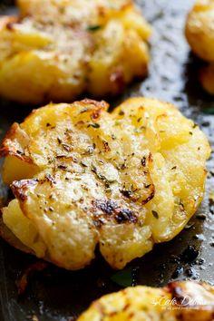Crispy Greek Lemon Smashed Potatoes - Cafe Delites