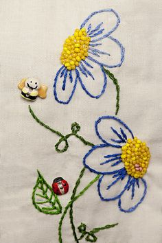 Embroidery Flower fun embroidered flowers, beads, and insect buttons Hand Embroidery Stitches, Silk Ribbon Embroidery, Hand Embroidery Designs, Embroidery Applique, Cross Stitch Embroidery, Embroidery Ideas, Japanese Embroidery, Flower Embroidery, Embroidery With Beads