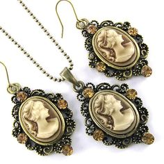 Classic Brown Cameo Antique Vintage Bronze Brass Tone 2-piece Cameo Jewelry Set Necklace Pendant Dangle Earrings for only $14.99