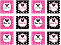 Minnie Mouse Fucsia and Black: Free Printable Mini Kit. - Minnie Mouse Fucsia and Black: Free Printable Mini Kit. Minnie Mouse Cupcake Toppers, Candy Bar Labels, Mini Mouse, Blogger Templates, Free Printables, Mickey Mouse, Kit, Birthday, Wrap Dress