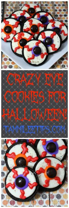Crazy Eye Cookies perfect for Halloween parties! So easy to make, great for kids, for a crowd, great dessert ideas, not super scary much more cute! Fun to make as a families for the holidays!
