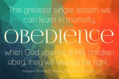 January 2015 Home Teaching Handout. Free Printable. Obedience. Follow the Prophets