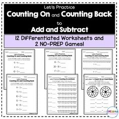 12 differentiated worksheets and 2 NO-PREP games for counting on to add and counting back to subtract. Perfect for small groups, centers, and independent practice!